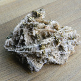 Specimen minerale - CUART SI PIRITA PE FRUNZE DE CALCITA (B3), Naturala