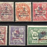 SUPRATIPAR MAROC-FRANTA 1914--1921 MNH-MH, Nestampilat