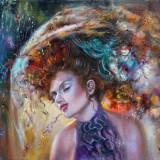 Witali Żuk Vitus - Suflet Romantic - Semnat + Certificat - Tablou Ulei Pe Panza, Portrete, Art Deco