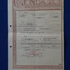 """Polita de asigurare """" Generala """" - 1943 - Onor. """" Casa ostirii """""""