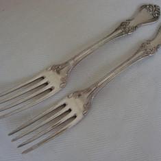 Doua furculite din alama argintata, inceput de secol 20, Tacamuri