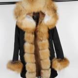Geaca Parka - cu blana naturala de vulpe diverse culori si modele, 36/38, Khaki