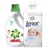 Pachet Detergent  Ariel Baby, 40 spalari + Balsam Lenor Pure Care, 63 spalari