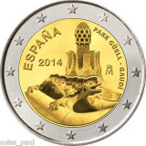 SV * Spania  2  EURO  2014  *  PARCUL GOELL - GAUDI         UNC  in capsula, Europa, Nichel