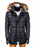 Geaca pentru barbati, de iarna, negru, impermeabila, fermoar, model slim, buzunare laterale - c318, M