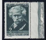 ROMANIA 1958  LP 452 a  SCRIITORI  ROMANI  EROARE  VALOAREA  2 LEI  O SPART MNH, Nestampilat