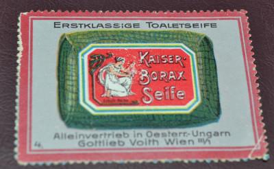 Vignieta, reclama Austria, Viena - Kaiser - Sapun cu borax foto