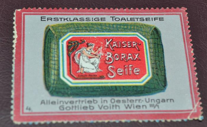 Vignieta, reclama Austria, Viena - Kaiser - Sapun cu borax