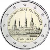 SV * Letonia 2 EURO 2014 * RIGA Capitala Culturala Europeana * bimetal       UNC, Europa, Nichel