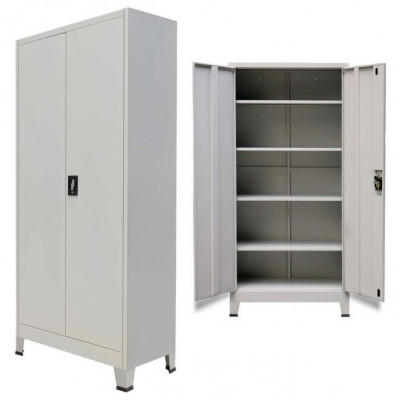 Dulap de birou cu 2 uși din oțel 90x40x180 cm, gri foto