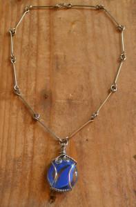 Colier, lant din metal cu pandativ de sticla #736
