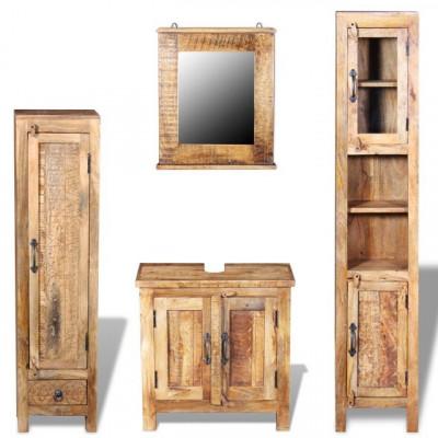 Dulap chiuvetă oglindă 2 dulapuri laterale lemn masiv de mango foto