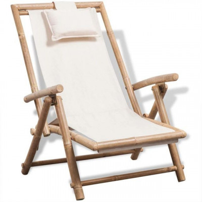 Scaun de terasă din lemn de bambus foto