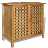 Dulap de chiuvetă din lemn masiv de nuc 66x29x61 cm