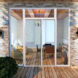 Plasă alb glisantă pentru uși împotriva insectelor 120 x 215 cm