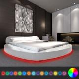 Pat cu saltea, LED 180 x 200 cm rotund, piele artificială, alb