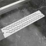 Rigolă duș liniară, model ondulat, oțel inoxidabil, 530x140 mm