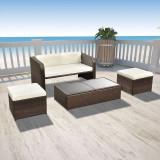Set mobilier de grădină cu canapea 9 piese, maro, poliratan