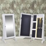 Dulăpior pentru bijuterii cu lumină LED și oglindă, Alb