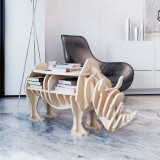 Etajeră din lemn decorativă tip rinocer, masă cu organizator cărți