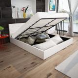 Cadru de pat cu piston gaz, piele artificială, 160x200cm, alb