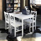 Set Mobilă de lemn Masă cu 4 scaune Alb