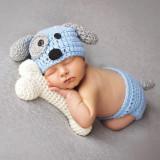 Costum crosetat bebelusi model catel/catel dalmatian sedinte foto botez