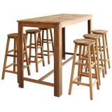 Set masă și scaune de bar din lemn masiv de acacia, 7 piese