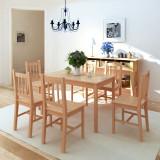 Set masă și scaune din lemn de pin 7 piese