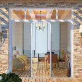 Plasă albă glisantă pentru uși împotriva insectelor 215 x 215 cm