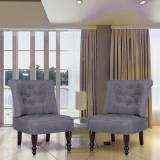Scaun în stil franțuzesc, 2 buc., material textil, gri