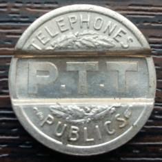 (M1990) JETON TELEFON PUBLIC FRANCEZ - P.T.T - 1937