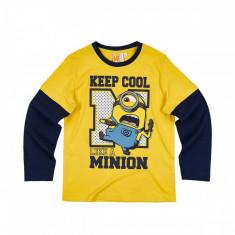 Tricou cu maneca lunga Minions , Minioni , Despicable Me, 5-6 ani, 7-8 ani, 9-10 ani, Alb, Multicolor, Unisex