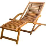 Șezlong cu suport pentru picioare din lemn de acacia