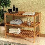 Raft de baie solid, lemn de nuc, 65 x 40 x 55 cm