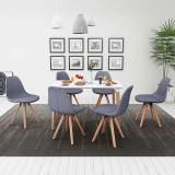 Set masă și scaune de bucătărie, alb și gri deschis, 7 piese