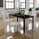Set masă și scaune de bucătărie, cinci piese, negru