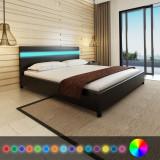 Pat cu LED-uri, 180 x 200 cm, piele artificială, negru