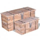 Set de două cufere de depozitare din lemn de acacia