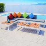 Mobilier de grădină cu canapea de colț, 19 piese, aluminiu WPC
