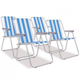 Scaune camping pliabile 4 buc Oțel Albastru și alb 52x62x75 cm