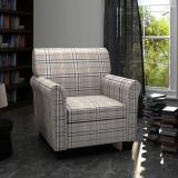 Fotoliu canapea cu pernă de scaun, material textil, crem