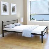 Cadru de pat metalic, 140 x 200 cm, negru