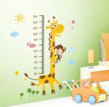 Sticker pentru copii grafic de crestere girafa cu maimutica masurator inaltime
