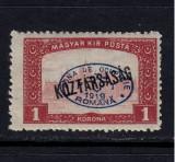 ZONA DE OCUPATIE ROMANIA 1919  - DEBRETIN 1  MICHEL NR 51   MNH