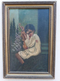 TABLOU VECHI - TANAR TIGAN CU VIOARA - ULEI PE CARTON PRESAT - SEMNAT DR. JOS, Portrete, Realism