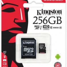 Card de memorie Kingston Canvas Select microSDXC, 256 GB, 80 MB/s Citire, 10 MB/s Scriere, Clasa 10 UHS-I + Adaptor SD