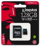 Card de memorie Kingston Canvas Go microSDXC, 128 GB, 90 MB/s Citire, 45 MB/s Scriere, UHS-I Class 3 + Adaptor SD