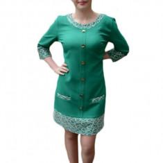 Rochie deosebita, nuanta de verde, design brodat rafinat, 42, 44, 46, 48