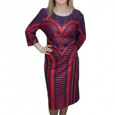 Rochie tinereasca, de culoare bleumarin-rosu, design chic, 44, 46, 48, 50